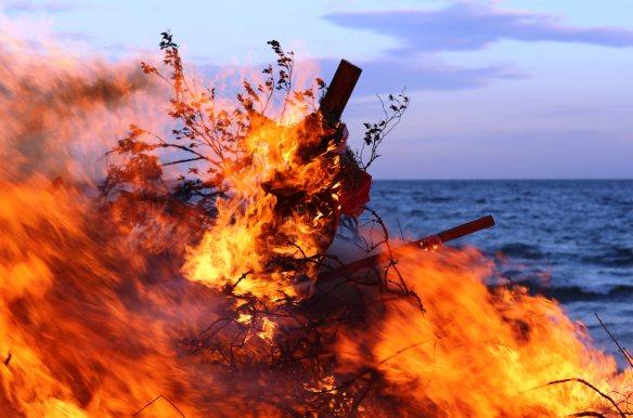 Bonfire at Aarhus bay area Henrik Elstrup