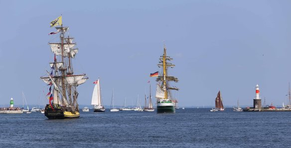 Sailing ships leaving port of Aarhus