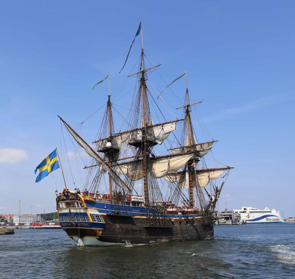 Tall ship from Sweden in Port of Aarhus