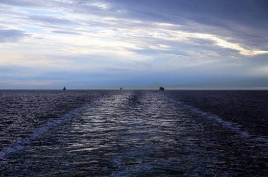 At sea wake sky