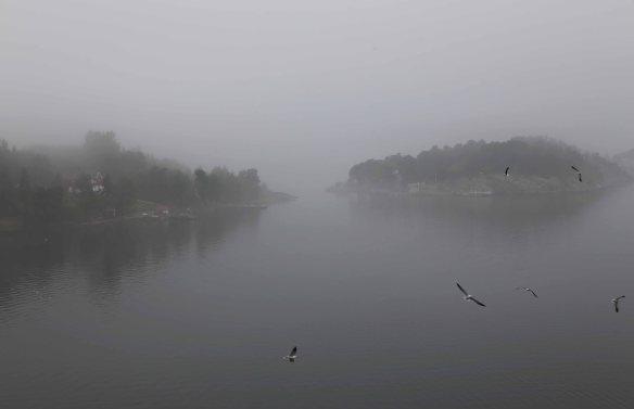 Stockholm fjord in fog Skærgården