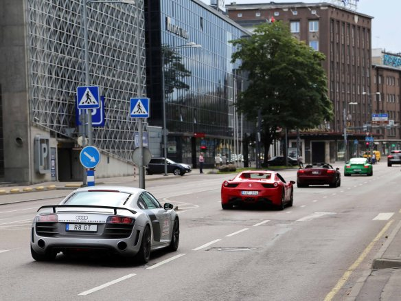 Supercars on a race in Tallinn Estonia
